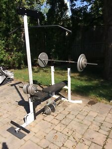 BENCH PRESS, WEIGHTS, DUMBBELLS,  BARBELL, EXERCISE EQUIPMENT