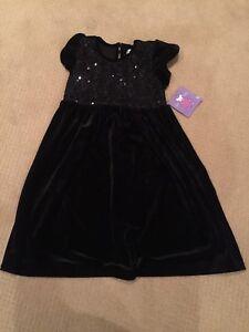 Girls size 7 black velvet dress