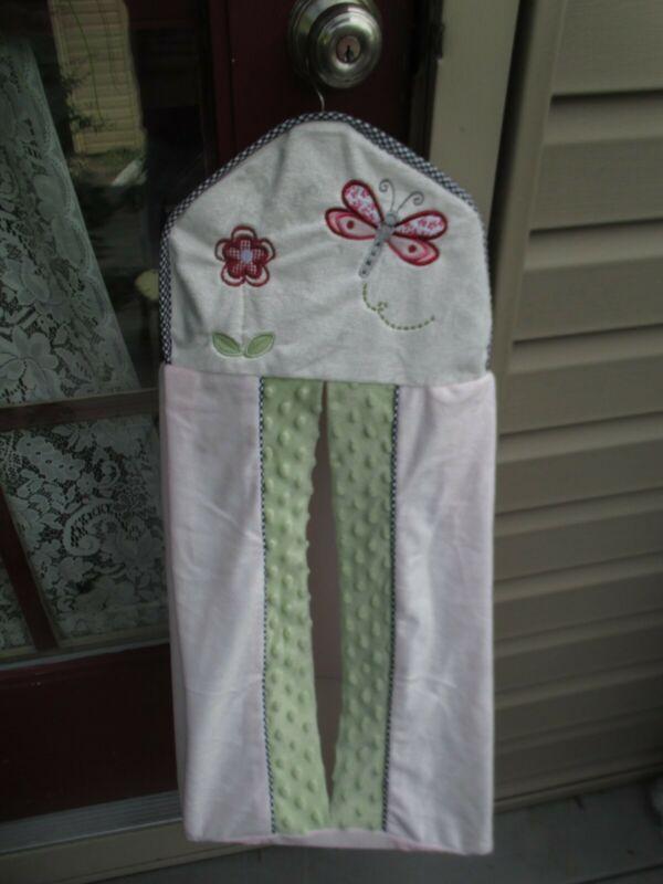 Kidsline Pink Black Gingham Green Dragonfly Ladybug Flower Diaper Stacker Holder