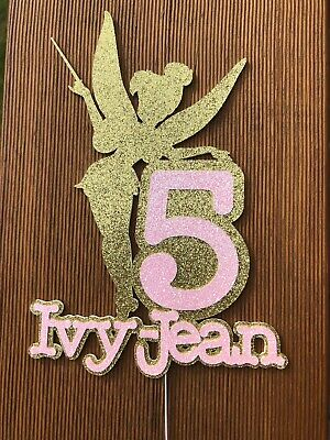 Glitter Fairy Birthday Cake Topper with number And Name, many colours avail.
