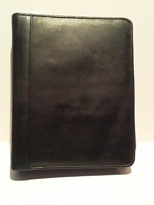 Franklin Covey Quest Black Leather 7 Ring Planner Binder Zip Around