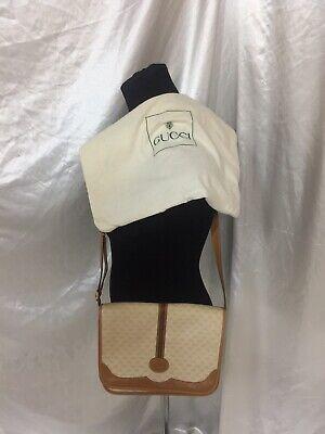 Vintage Auth GG Gucci W/ RIBBON &ZIPPER PULL Crossbody Bag Purse 1970 & DUST BAG