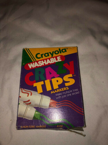 Vintage Crayola Crazy Tip Markers Washable 1991 Multiple Lines Red Blue Green