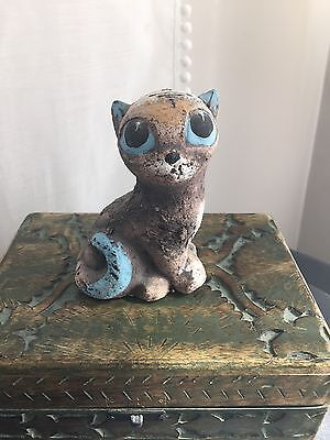 Shamot Clay Cat/Kitty Figurine Hand-made & Hand Painted Best for Christmas (Best Paint For Clay)