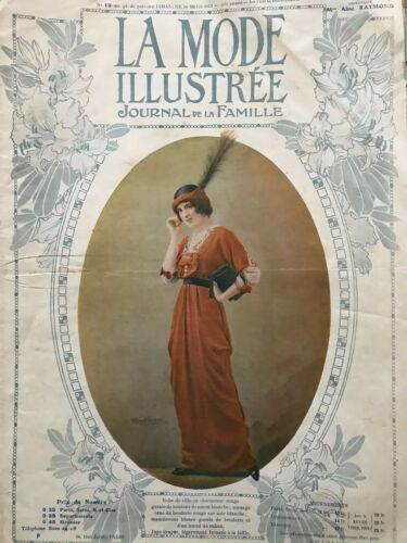 MODE ILLUSTREE SEWING PATTERN March 30,1913 - Mourning dress, satin dress...