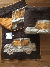 3pc Pottery Barn New Car Service Twin Quilt Set Euro