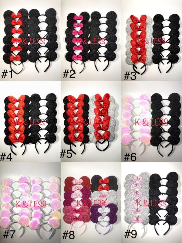 24pc mickey minnie ear headband party favor cosstume black/red/shiny/bow