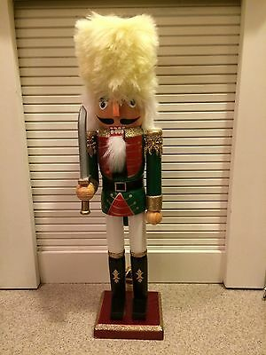 "15"" Wooden Christmas Nutcracker - Red & Green with Sword - New!"