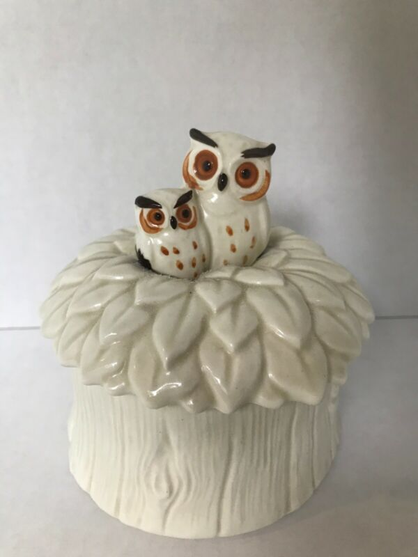 Owl Trinket Box crafted in Japan ceramic mom and baby Vintage NORCREST