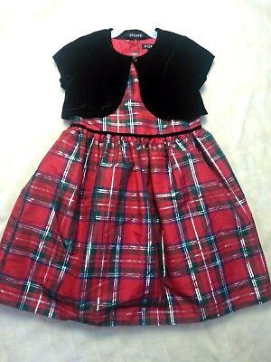 George Girl's Holiday Dress Red Green Plaid Black Velvet Shrug Size 6 - Girls Velvet Shrug