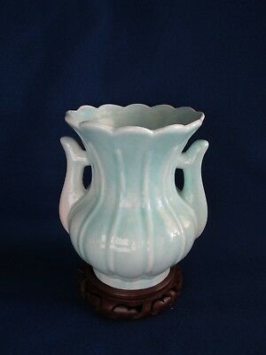 VERY RARE ANTIQUE CHINESE KANGXI MONOCHROME BLUE GLAZE PORCELAIN VASE