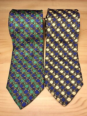 Lot Of Two 2 Robert Talbott Ties Green Yellow Geometric Pattern Silk Vintage
