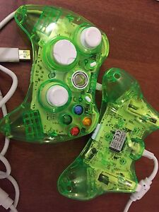 2 Wired Rock Candy Xbox 360 controllers - intensity green