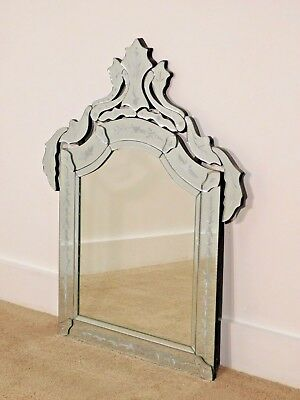 Vintage Venetian Etched Glass Large Wall Mirror