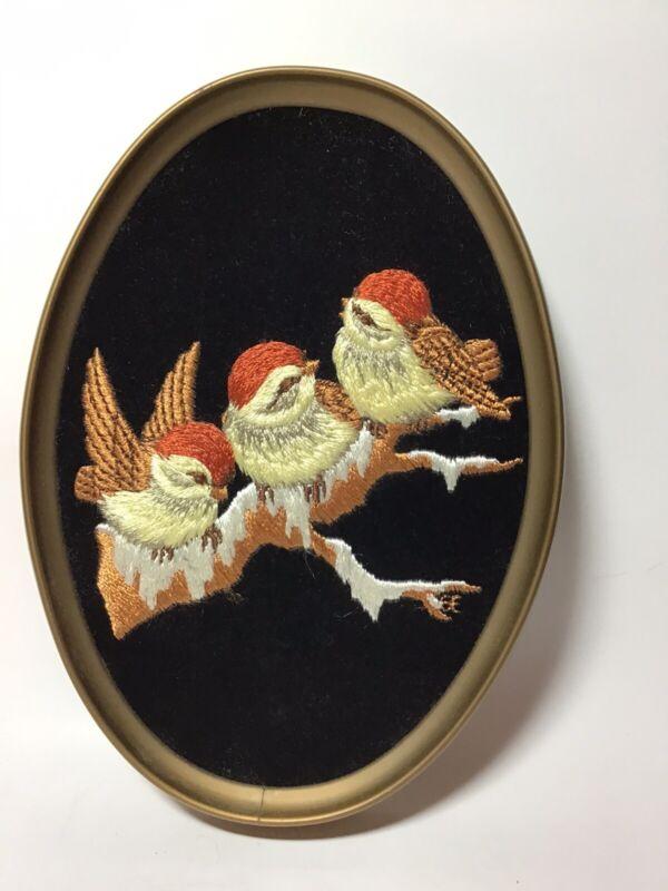 Ecstasy Giftware Framed Embroidered Chickadees Birds On Black Velvet Canada