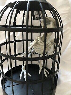 Halloween Skelton Bird In Cage Figure  - Halloween Skelton