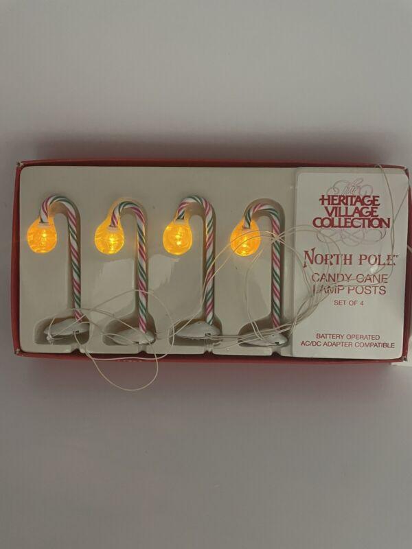 Vintage Dept 56 Heritage Village Collection North Pole Candy Cane Lamp Posts