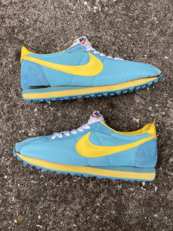 Vintage 70s 80s Nike Blue Yellow Waffle Running Shoes Size 10 Track Swoosh