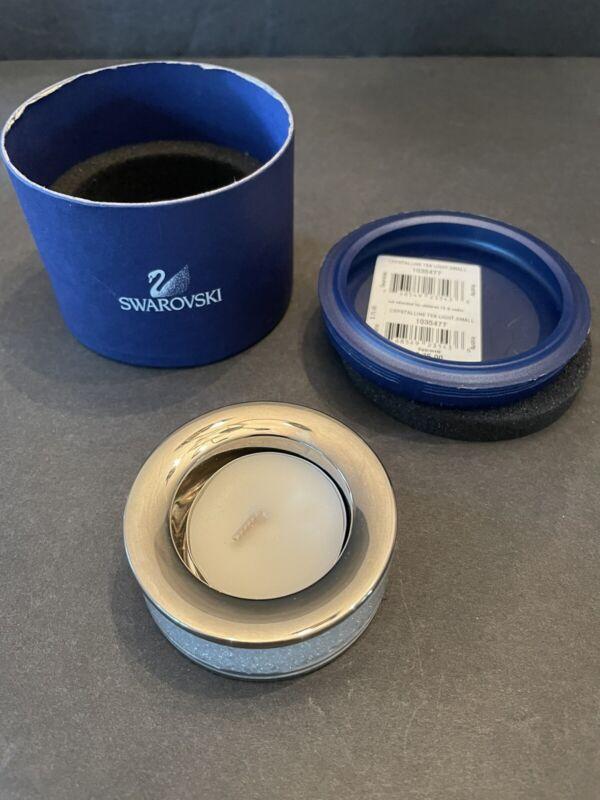 SWAROVSKI SILVER CRYSTAL CRYSTALLINE CANDLE HOLDER TEA LIGHT SMALL #1035477 Box