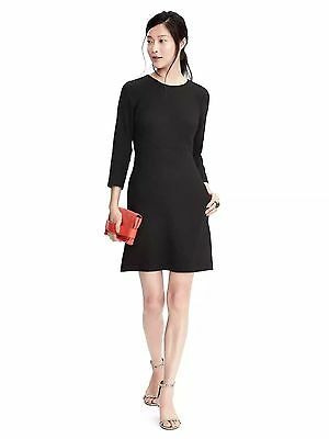 (Banana Republic Double-Face Scalloped Waist Dress,Black SIZE 8T 8 T  #378849 v12)