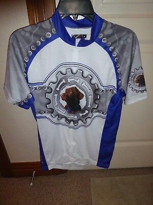 Primal Wear Lab Puppy Dog Animal Chain Sprocket Bicycle Cycling Race Jersey Med