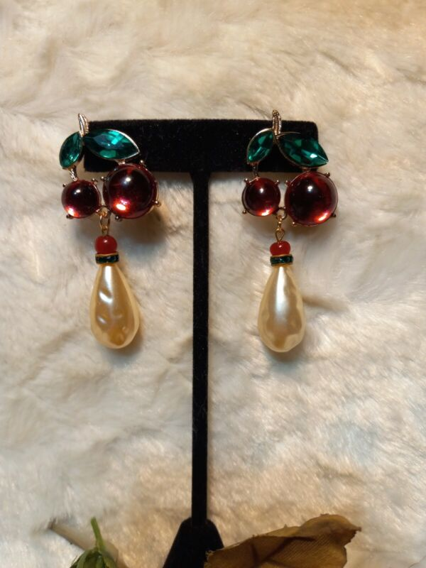 Vintage 80s Cherry Red Cab Pearl RS Drop Statement Post Earrings Runway Couture