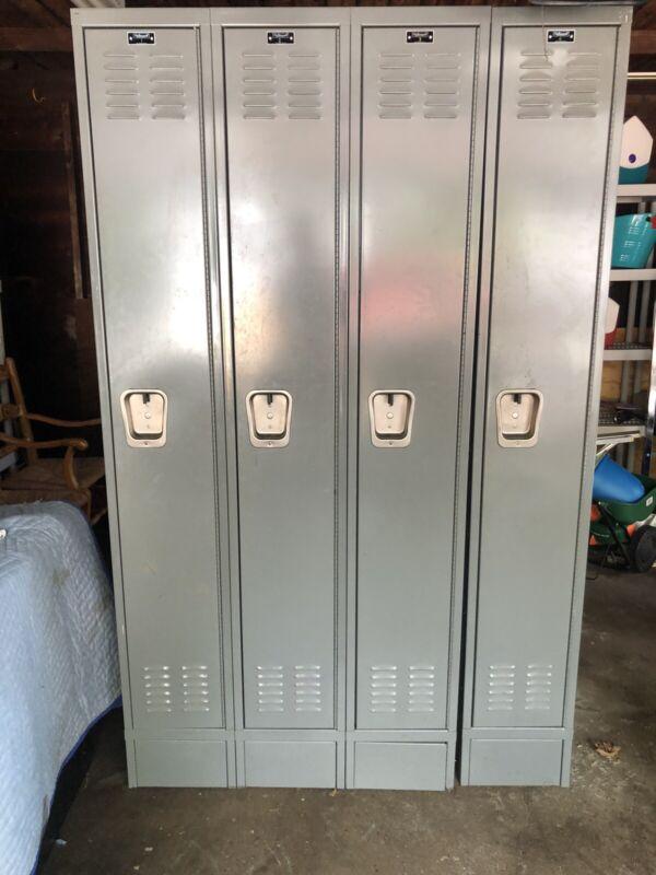 VINTAGE GREY 4 LOCKER SET- # 1-4 hallowell lockers