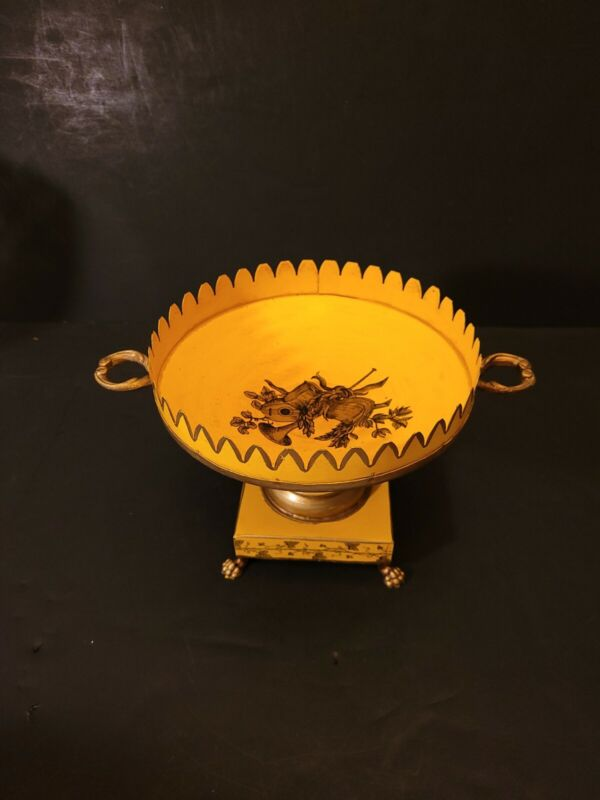 """Vintage Italian Tole metal bowl. Bright yellow and in great shape. 9""""x7"""""""