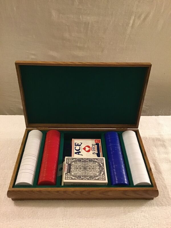 Wooden Poker Box Made In Taiwan R.O.C. Comes With Chips,Cards And Dice.