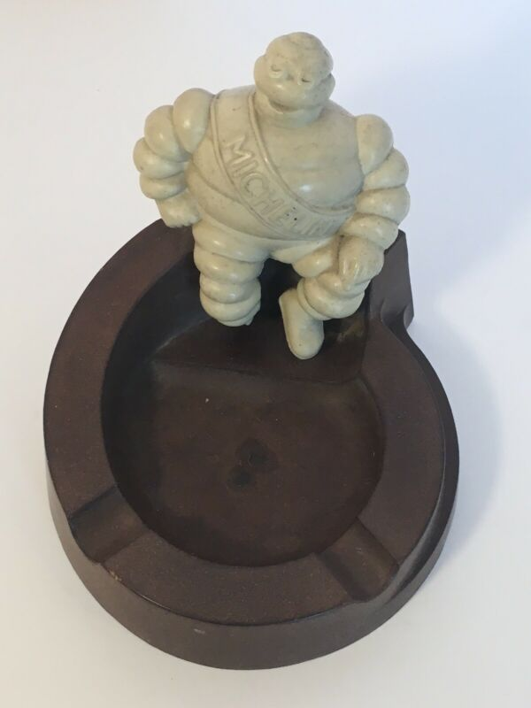 Vintage 1940s MICHELIN MAN scarce Brown Marbled Bakelite Ashtray~Made in ENGLAND