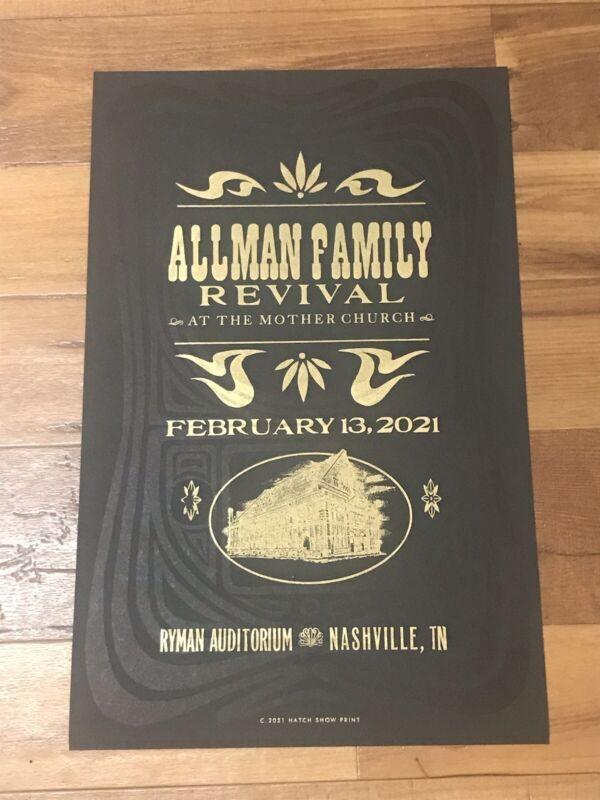 ALLMAN FAMILY REVIVAL 2/06/21 Ryman Auditorium HATCH SHOW PRINT Poster Nashville