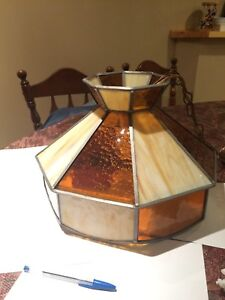Vintage Leaded Glass Amber hanging Lamp