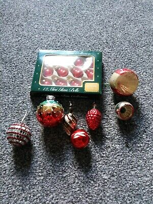 18 Vintage Christmas Glass Baubles + 1 Beaded