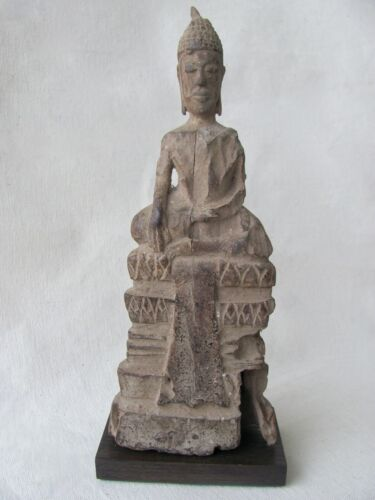 Mounted Antique Thai Seated Wood Buddha Figure from Southeast Asia