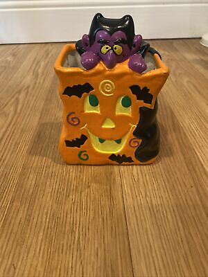 Vintage Ceramic Halloween Jack O Lantern With Dracula - Handpainted