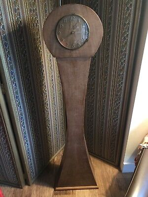 Vintage Deco ? Wooden Oak Veneer Clock Case Stand With Metamec Clock Not Working