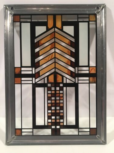 """Frank Lloyd Wright Collection Mini Stained Glass Window 6"""" x 8"""" Autumn Sumac"""