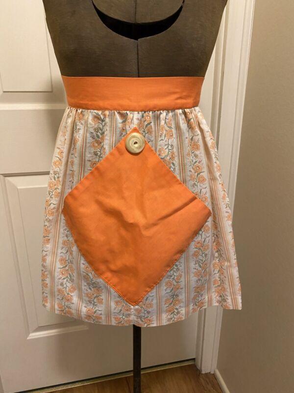 Vintage Orange White Floral Apron Flower Print Cotton