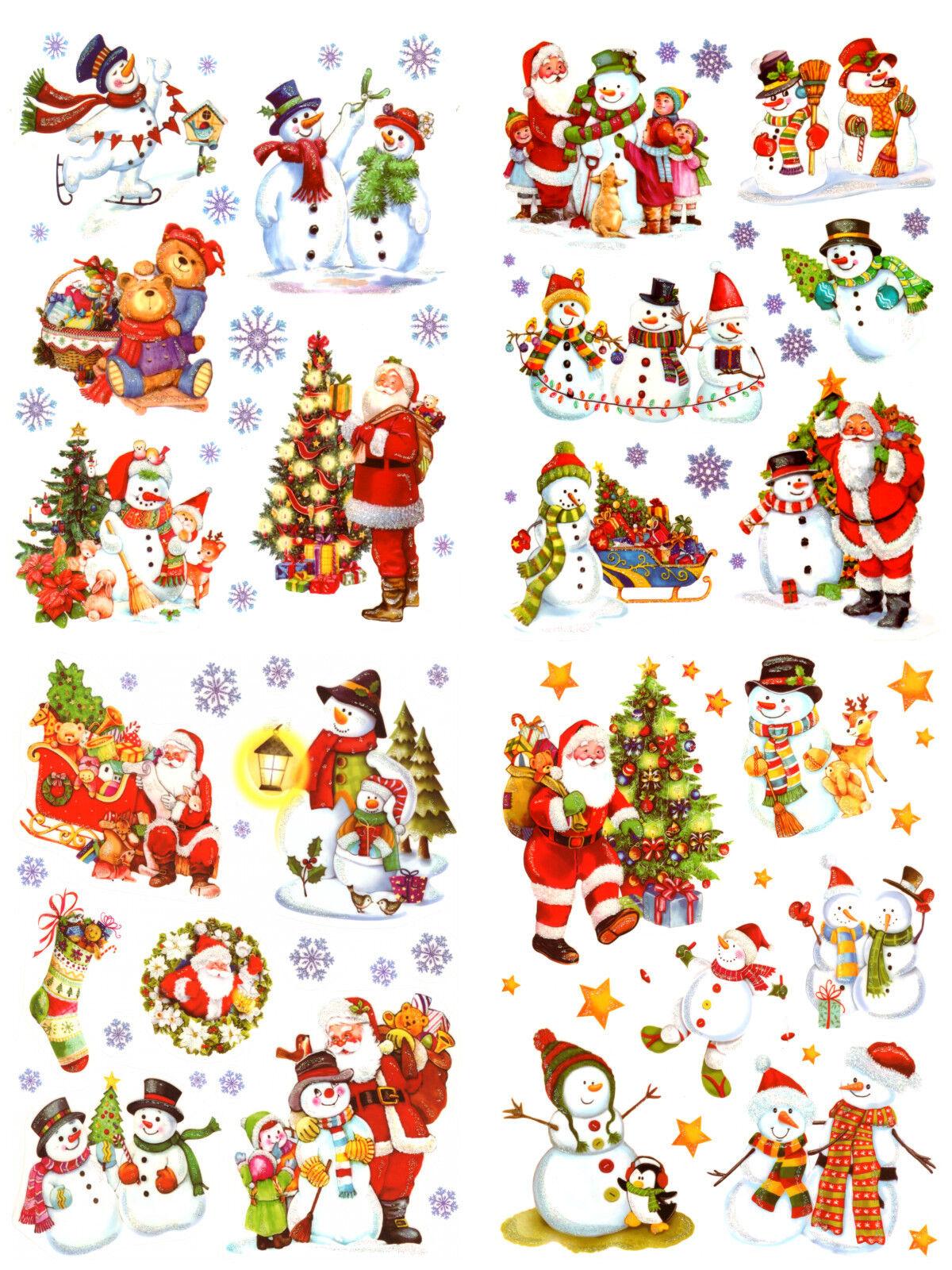 Fensterbild Set 52tlg Schneemann Flocken Fenstersticker Fenster Deko Weihnachten
