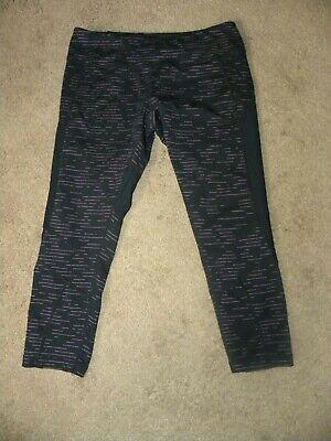 Zella  Cropped Capri  Leggings With Mesh Black Pink Mini Stripe  Print Size Med