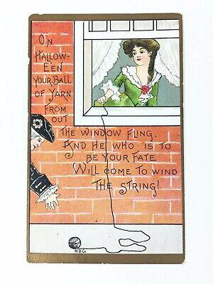 Vintage Halloween Postcard Artist Signed HGB Gibson Girl L&E Series 2262