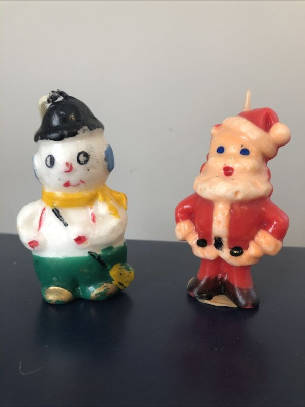Vintage 1950s Gurley Christmas Candles - Snowman & Standing Santa