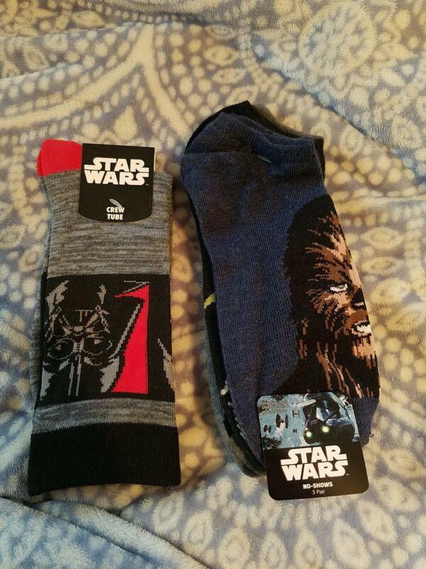Star Wars Sock Lot (3 Pairs No-shows & 1 Pair Of Crew Tube)
