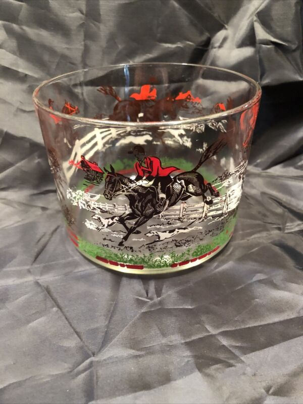 "Vintage Glass Bowl ~ Horse and Rider with Hounds ~ 4.25"" Tall, 5.25"" Diameter"
