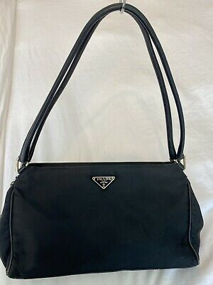 Prada Tessuto Nylon And Leather Double Strap Vintage Bag Black