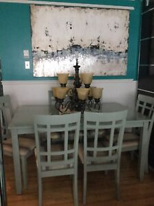 6 chairs w/ large green dining table-