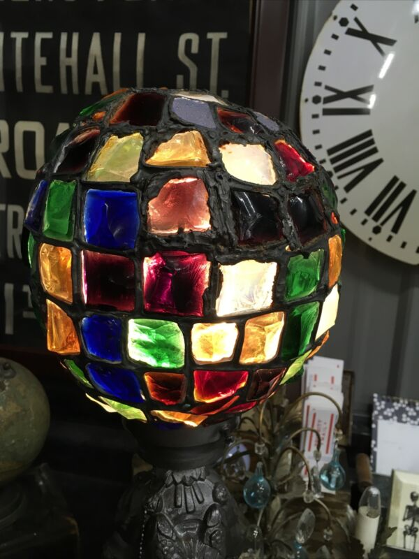 ANTIQUE CHUNK GLASS PARLOR LAMP SHADE BEAUTIFUL COLORS STUNNING