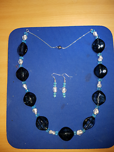 Beautiful blue and white necklace and earrings. Croydon Maroondah Area Preview