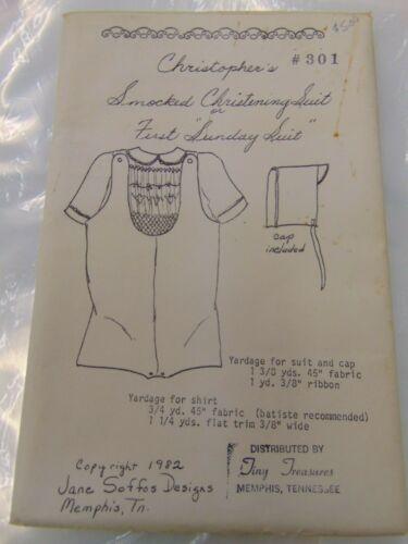 Vtg Infant Smocked Christening Sunday Suit Sewing Pattern 1982 Tiny Treasures UC