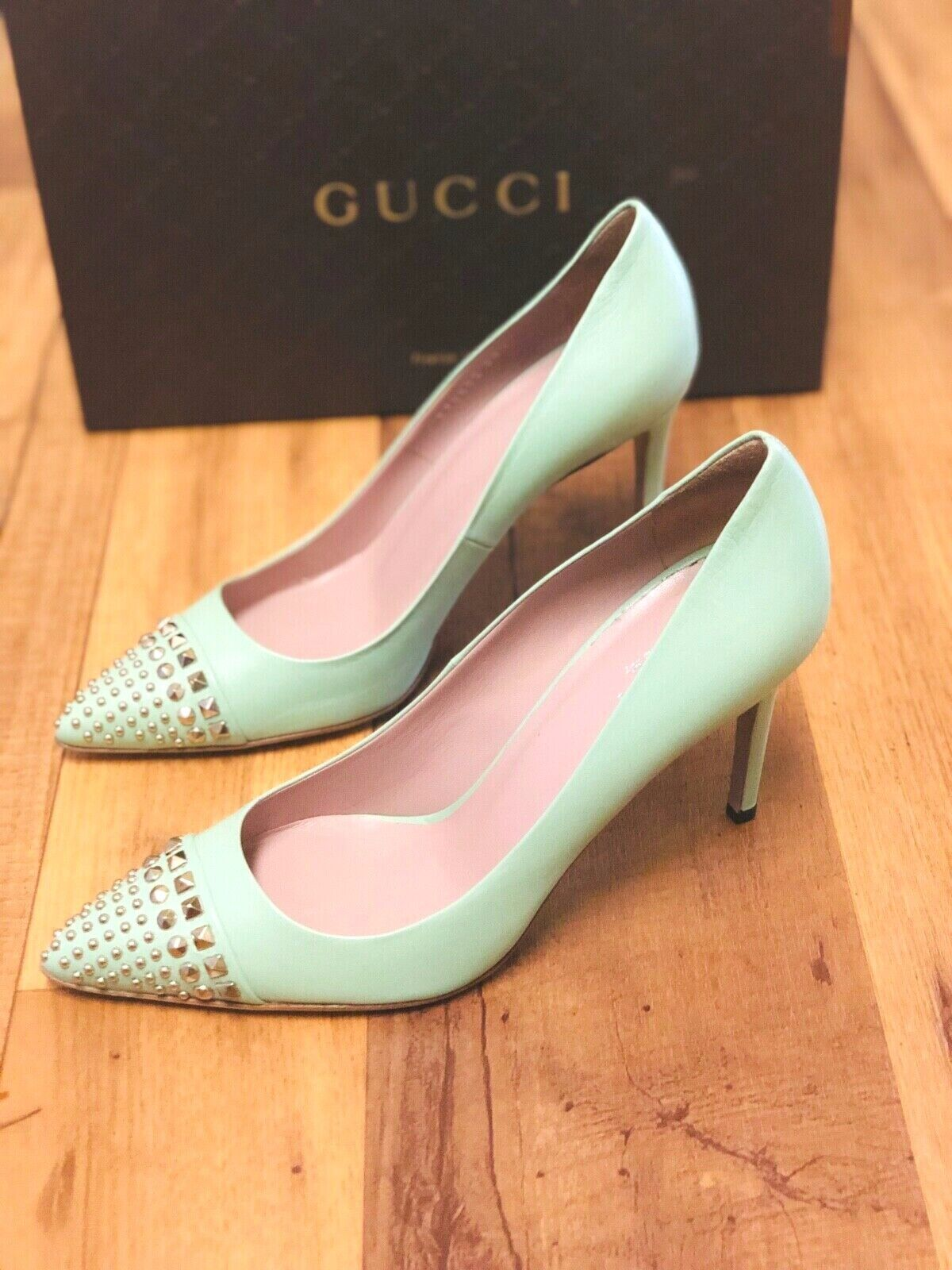 GUCCI SHOES STUDDED TEAL LEATHER  METAL Silver STUDS PUMPS IT 38.5  8.5 $620